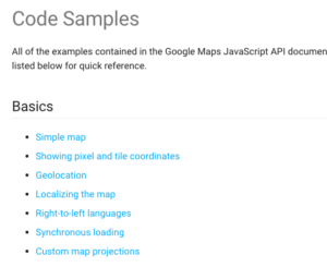 Google Maps has several Getting Started code samples for new developers