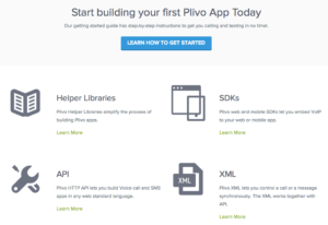 Plivo has robust documentation for getting started.